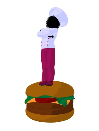 African american girl chef with cheeseburger illustration silhouette on a white background illustration