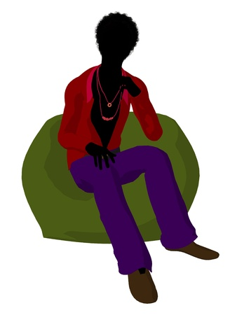 African american disco guy sitting on a bean bag on a white background Stock Photo - 8619832