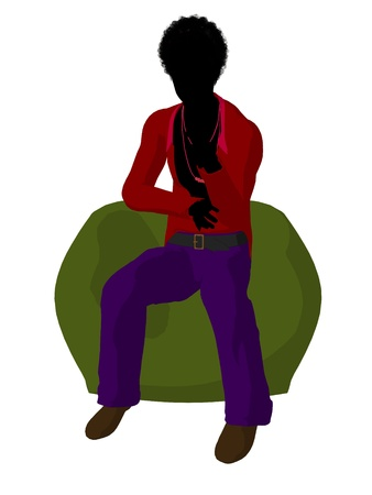 African american disco guy sitting on a bean bag on a white background Stock Photo - 8619666