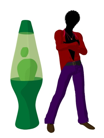 disco era: African ameircan disco guy standing by a lava lamp a white background
