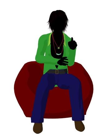 Disco guy sitting on a bean bag on a white background Stock Photo - 8619812