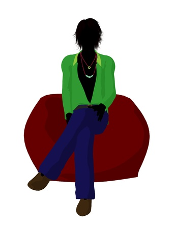 hustle: Disco guy sitting on a bean bag on a white background