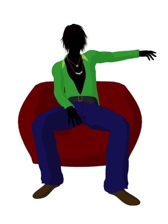 Disco guy sitting on a bean bag on a white background Stock Photo - 8619669