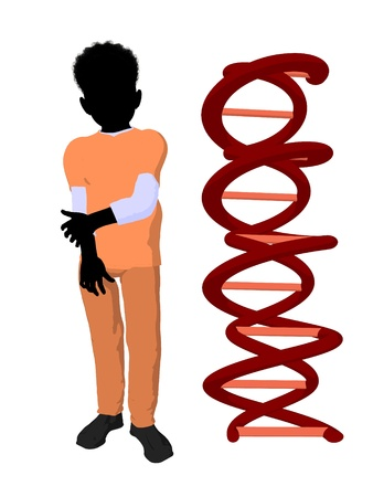 African american boy doctor next to dna on a white background