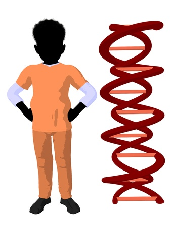 medico: African american boy doctor next to dna on a white background