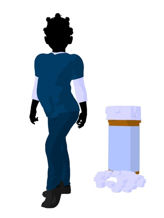 african american business woman: African american girl doctor next to pills on a white background