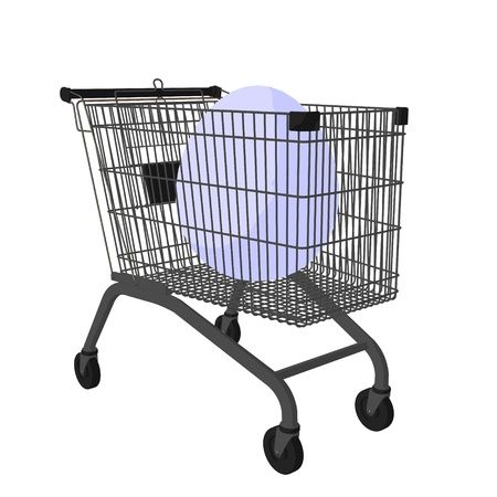 Easter egg in a shopping cart on a white background Banco de Imagens