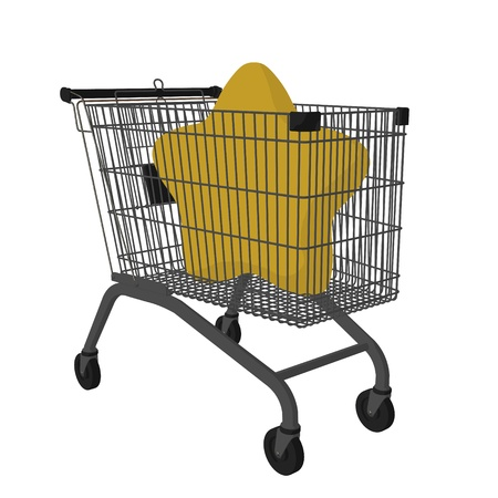 A star in a shopping cart on a white background