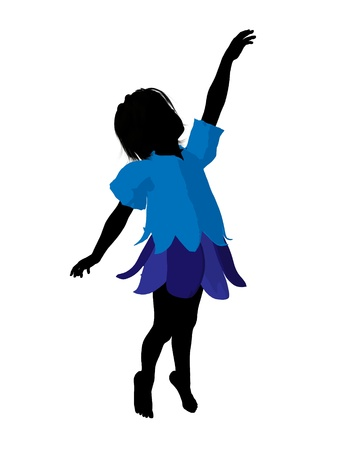 children silhouettes: Boy fairy illustration silhouette on a white background Stock Photo