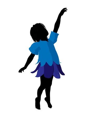 Boy fairy illustration silhouette on a white background Stock Photo