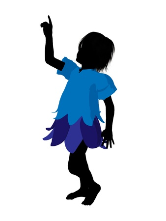 pixy: Boy fairy illustration silhouette on a white background Stock Photo