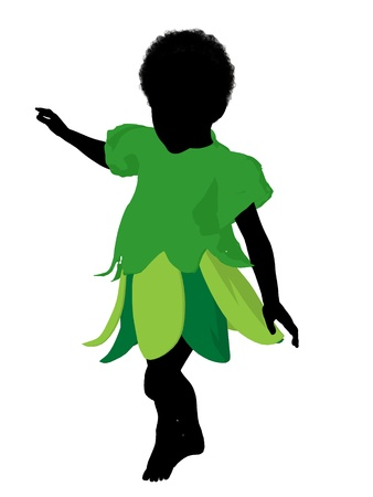 pixy: African american boy fairy illustration silhouette on a white background Stock Photo