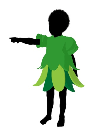 African american boy fairy illustration silhouette on a white background illustration