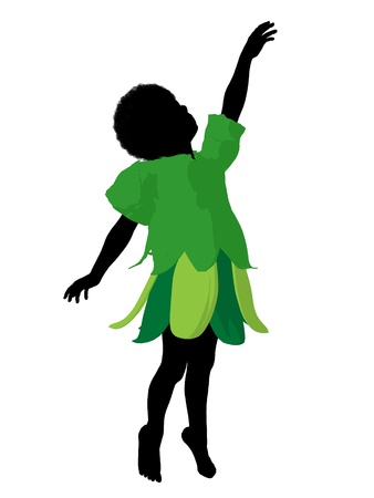 adolescent african american: African american boy fairy illustration silhouette on a white background Stock Photo