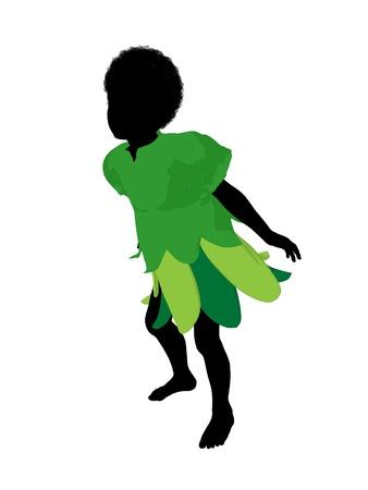 African american Boy Fairy Illustration Kontur auf weißem Hintergrund Standard-Bild - 8619348