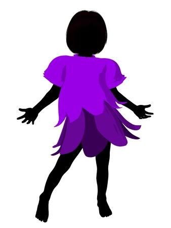 faery: Fairy girl illustration silhouette on a white background Stock Photo