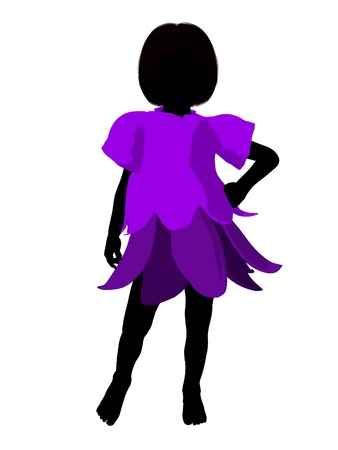 pixy: Fairy girl illustration silhouette on a white background Stock Photo