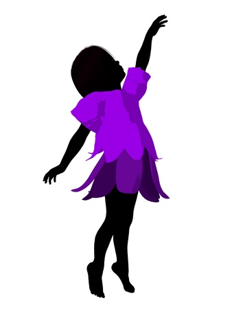 children silhouettes: Fairy girl illustration silhouette on a white background Stock Photo