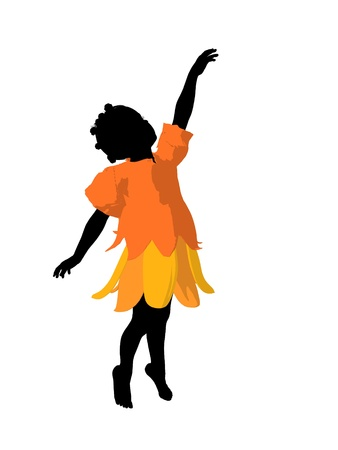 silueta niño: Silueta de ilustración de hadas afroamericano chica sobre un fondo blanco Foto de archivo