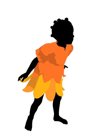 African american fairy girl illustration silhouette on a white background Archivio Fotografico