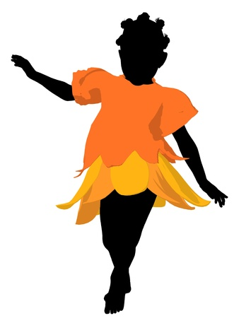 children silhouettes: African american fairy girl illustration silhouette on a white background Stock Photo