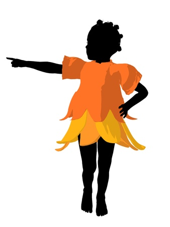 African american fairy girl illustration silhouette on a white background Stok Fotoğraf
