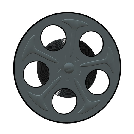 3D film reel on a white background
