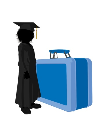 academia: School boy with lunchbox illustration silhouette on a white background Stock Photo