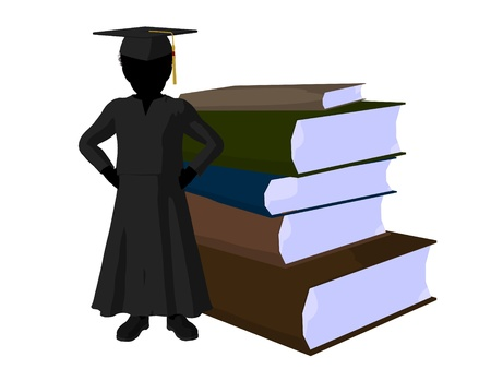 academia: African american school boy with a pile of books illustration silhouette on a white background