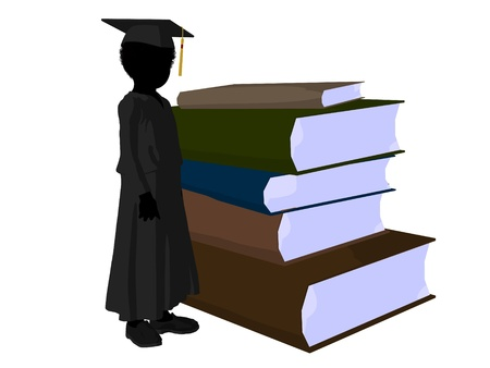 African american school boy with a pile of books illustration silhouette on a white background