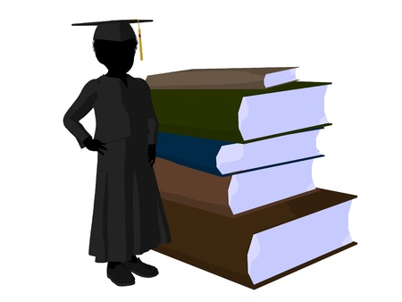 African american school boy with a pile of books illustration silhouette on a white background illustration