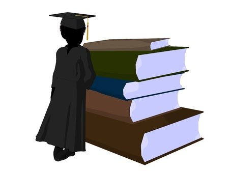african teacher: African american school boy with a pile of books illustration silhouette on a white background