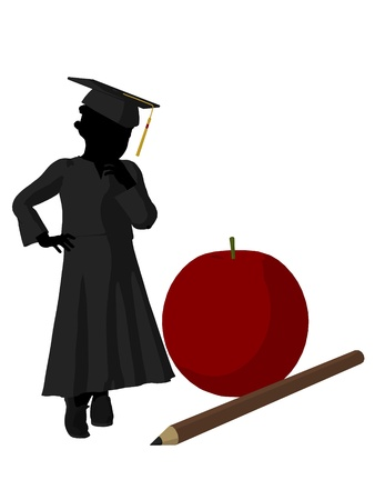 academia: African american school girl with an apple and pencil illustration silhouette on a white background