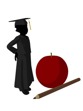 African american school girl with an apple and pencil illustration silhouette on a white background illustration