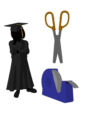 academia: School girl with scissors and  tape illustration silhouette on a white background Stock Photo