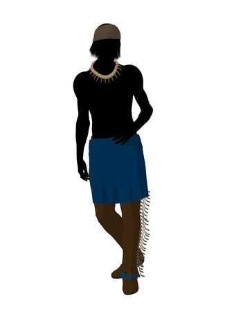 Indian silhouette on a white background