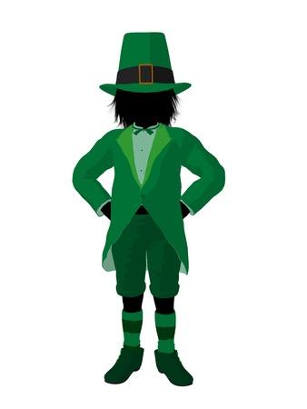 st pattys: Leprechaun boy silhouette on a white background Stock Photo
