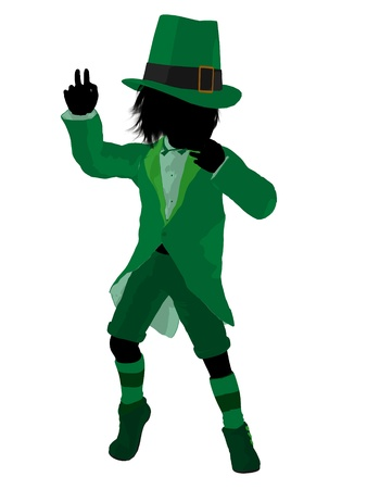 Leprechaun boy silhouette on a white background photo