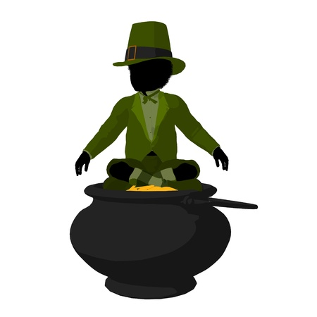 African american leprechaun boy on top of a pot of gold on a white background photo
