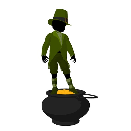 African american leprechaun boy on top of a pot of gold on a white background