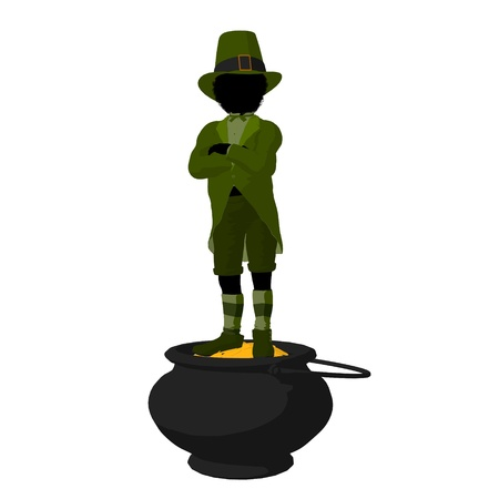 st pattys day: African american leprechaun boy on top of a pot of gold on a white background