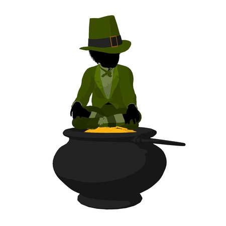 st pattys: African american leprechaun boy on top of a pot of gold on a white background
