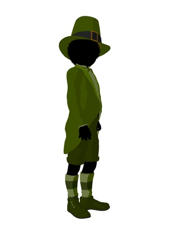 st pattys day: African american leprechaun boy silhouette on a white background