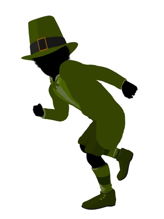 African american leprechaun boy silhouette on a white background photo