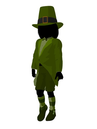 Leprechaun girl silhouette on a white background photo