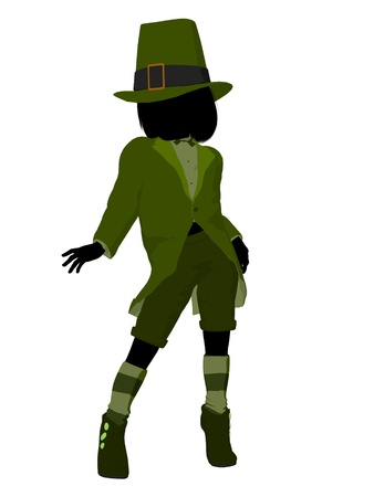 Leprechaun girl silhouette on a white background Stock Photo - 8619356