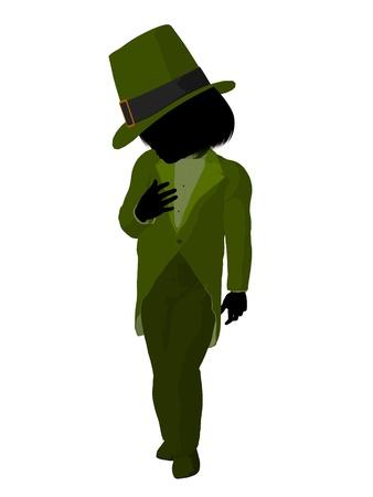 Leprechaun girl silhouette on a white background photo