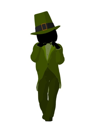 st pattys day: Leprechaun girl silhouette on a white background