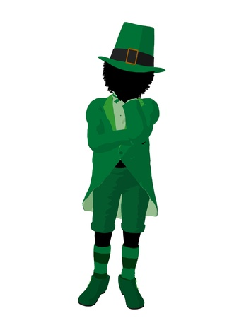 African american leprechaun girl silhouette on a white background