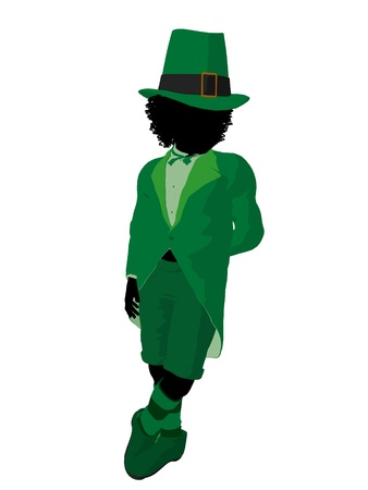 st pattys day: African american leprechaun girl silhouette on a white background